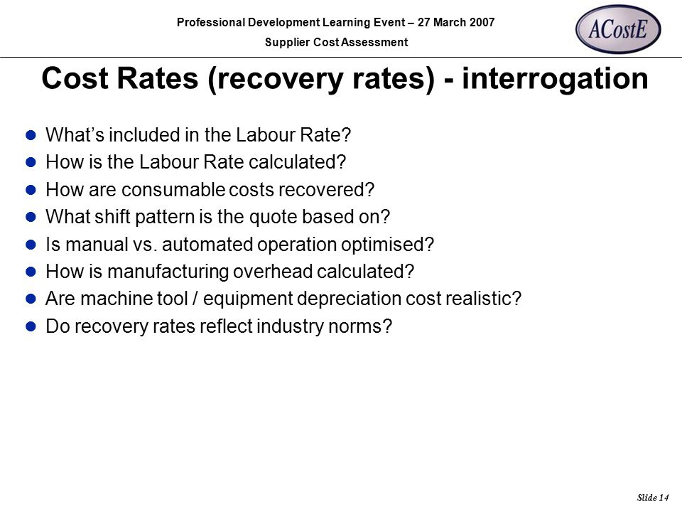 Cost Rates (recovery rates) - interrogation