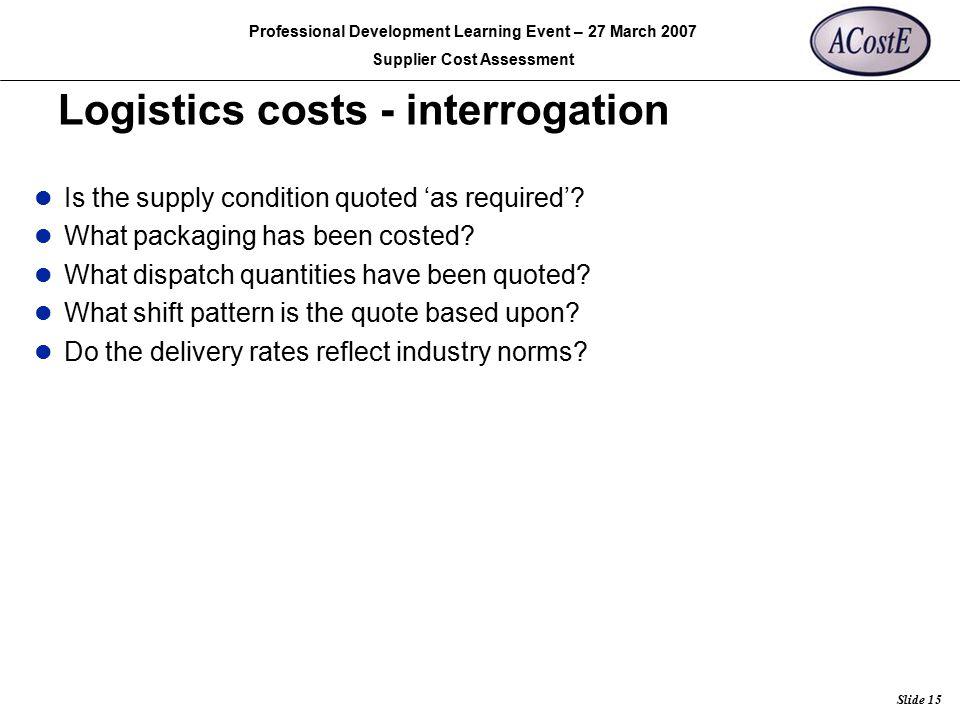 Logistics costs - interrogation
