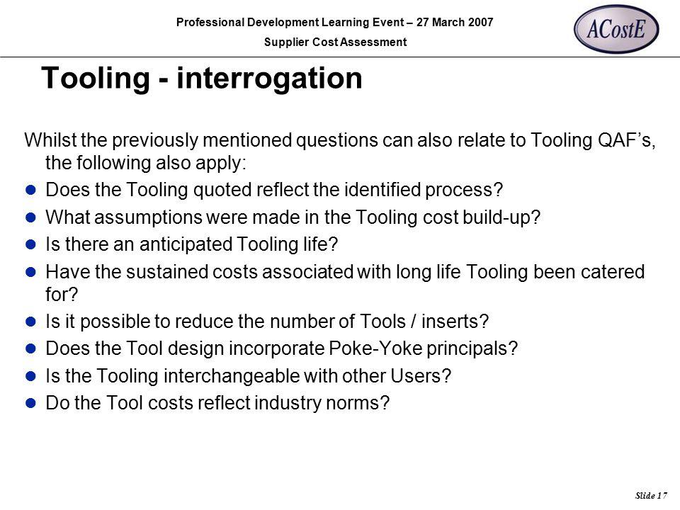 Tooling - interrogation