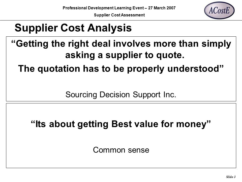 Supplier Cost Analysis