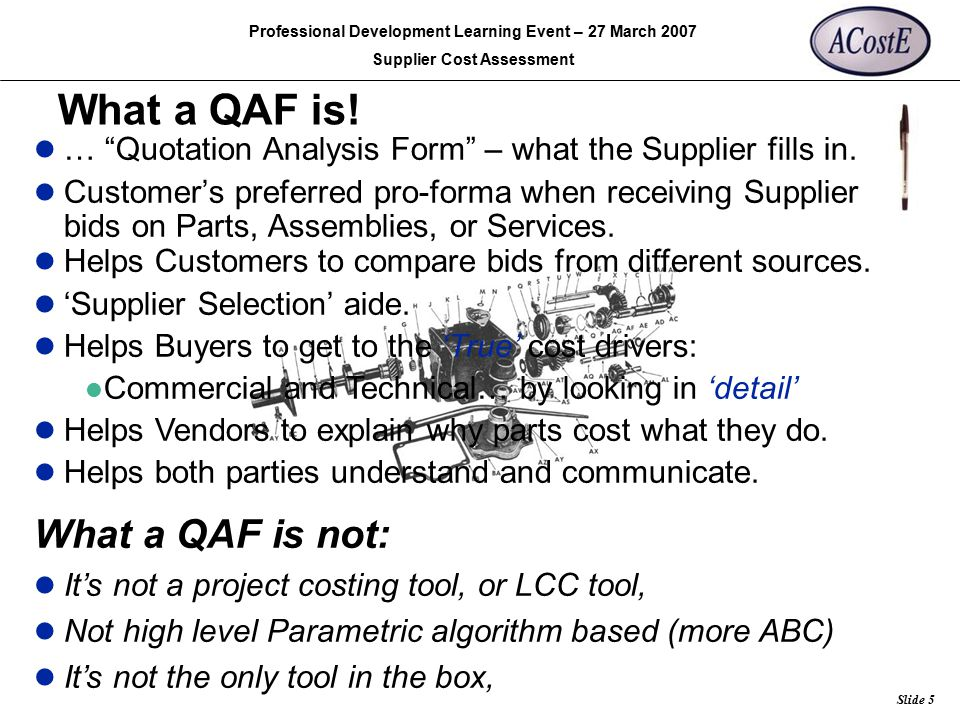 What a QAF is! What a QAF is not: