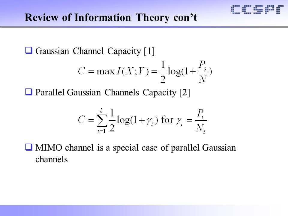 Review of Information Theory con't