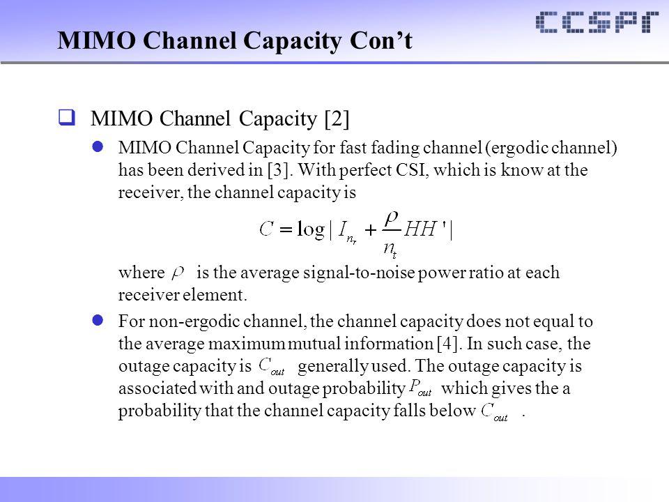 MIMO Channel Capacity Con't