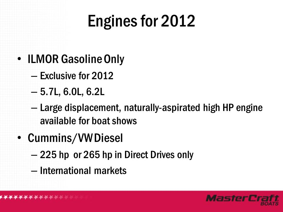 Engines for 2012 ILMOR Gasoline Only Cummins/VW Diesel