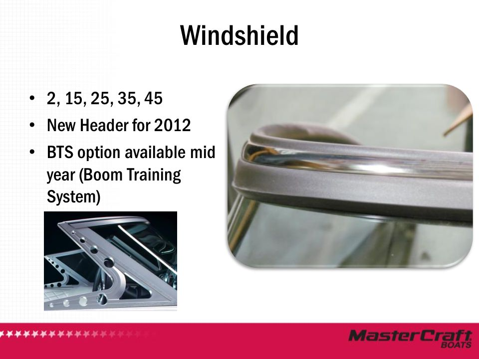 Windshield 2, 15, 25, 35, 45 New Header for 2012