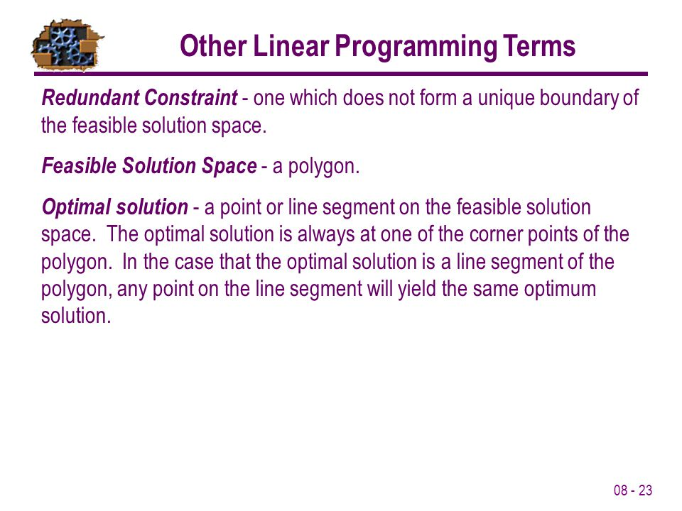 Other Linear Programming Terms
