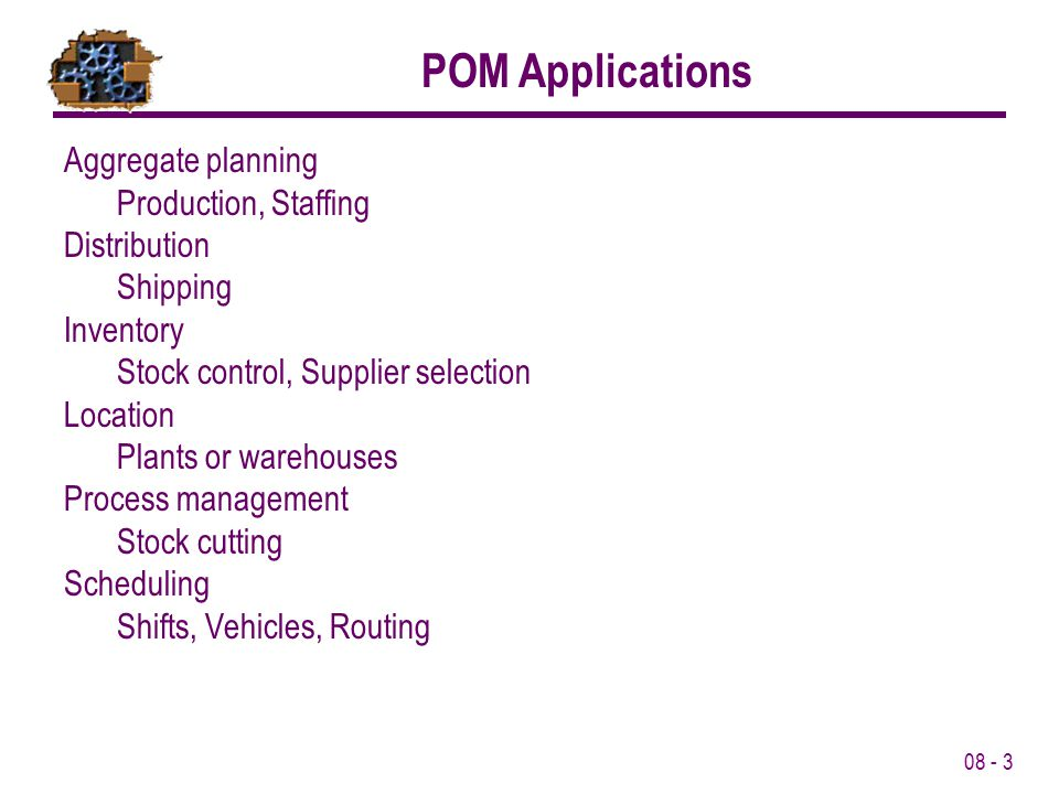 POM Applications Aggregate planning Production, Staffing
