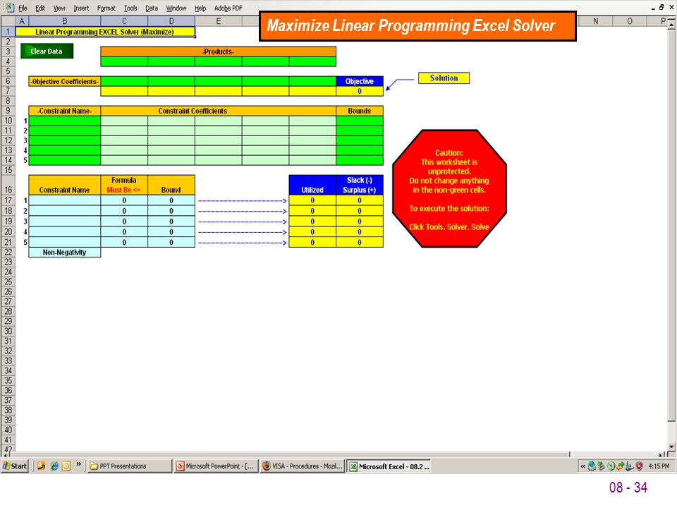 Maximize Linear Programming Excel Solver