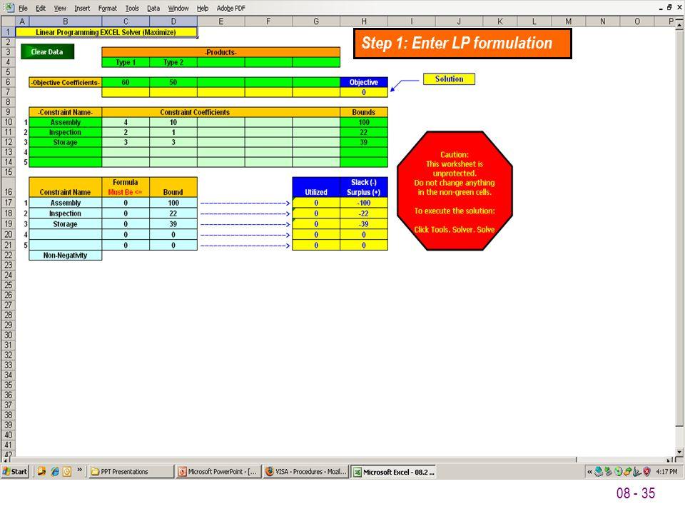 Step 1: Enter LP formulation