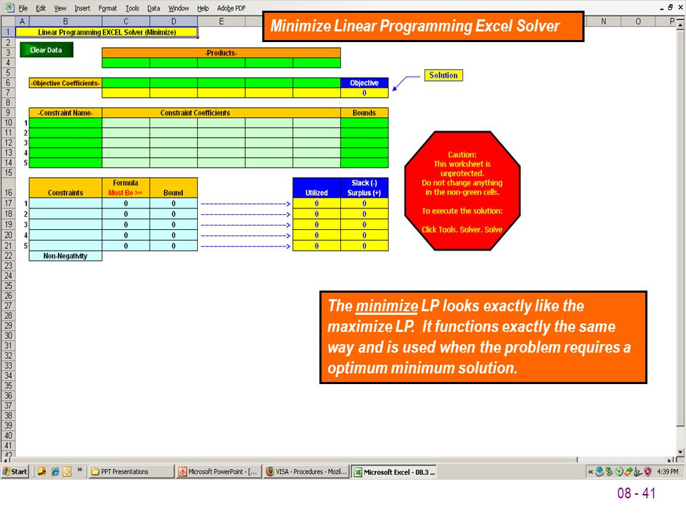Minimize Linear Programming Excel Solver