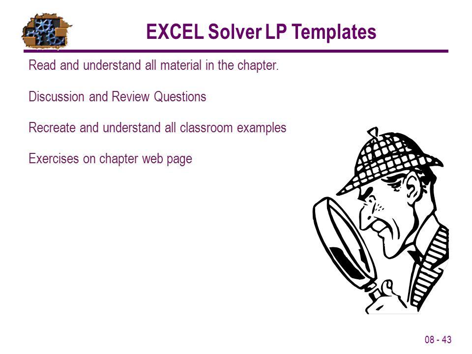 EXCEL Solver LP Templates