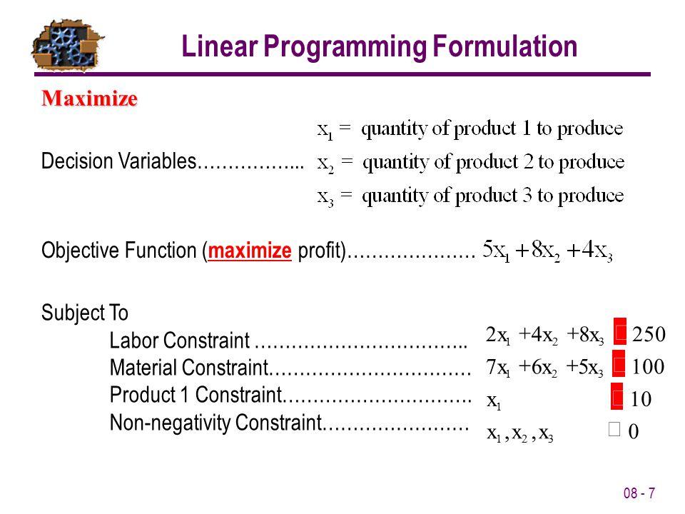 Linear Programming Formulation
