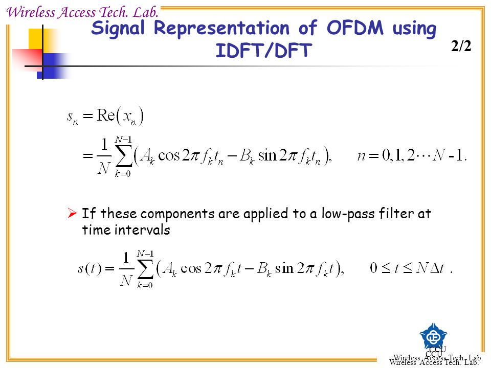 Signal Representation of OFDM using IDFT/DFT