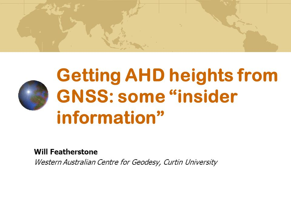 Getting AHD heights from GNSS: some insider information