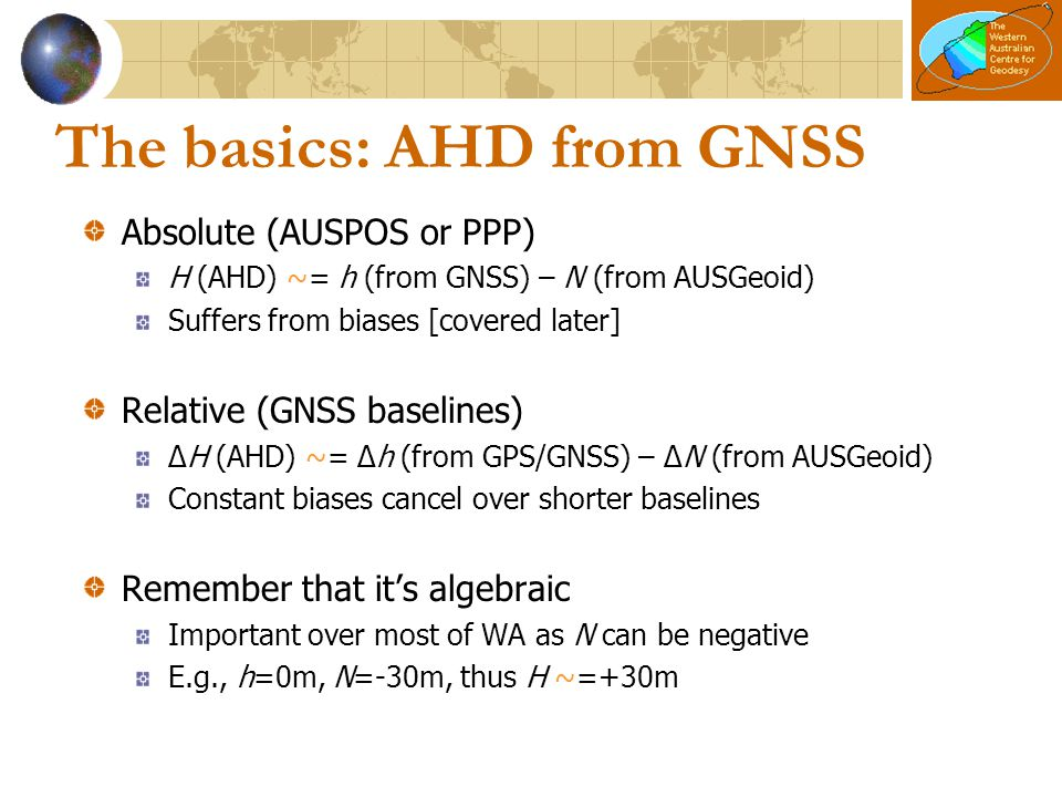 The basics: AHD from GNSS