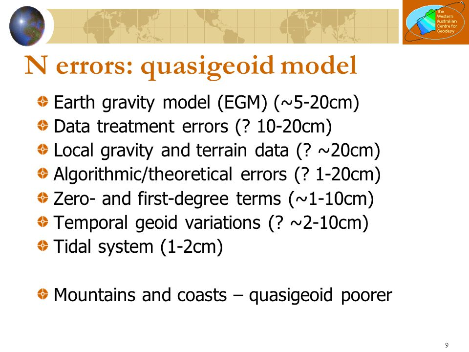 N errors: quasigeoid model
