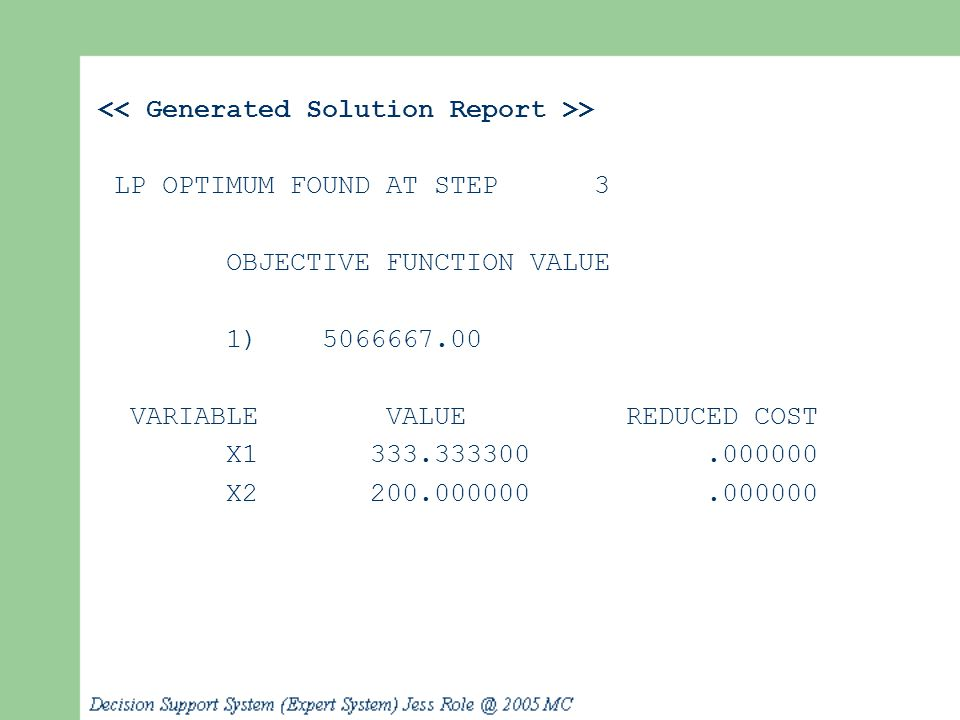 << Generated Solution Report >>