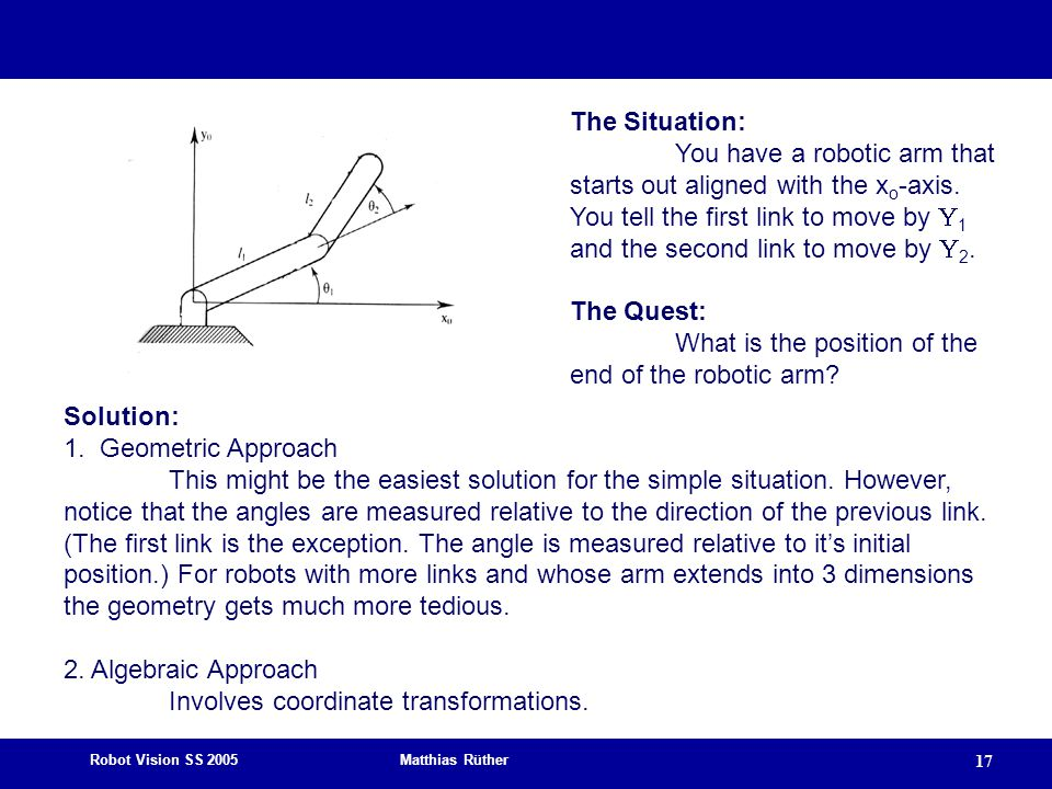 The Situation: You have a robotic arm that starts out aligned with the xo-axis.