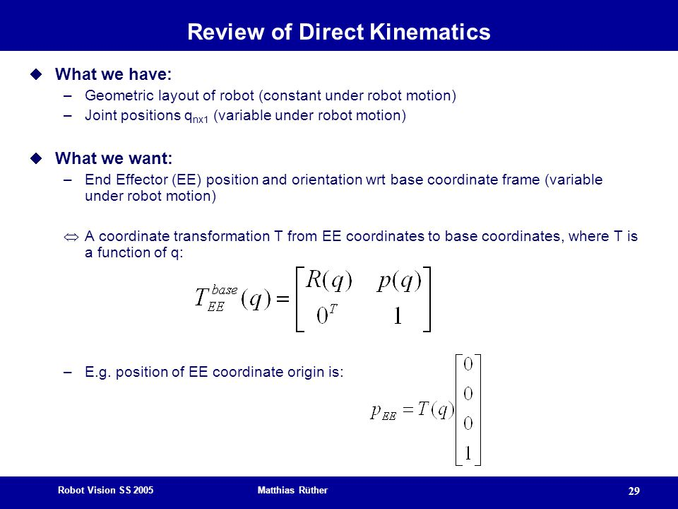 Review of Direct Kinematics