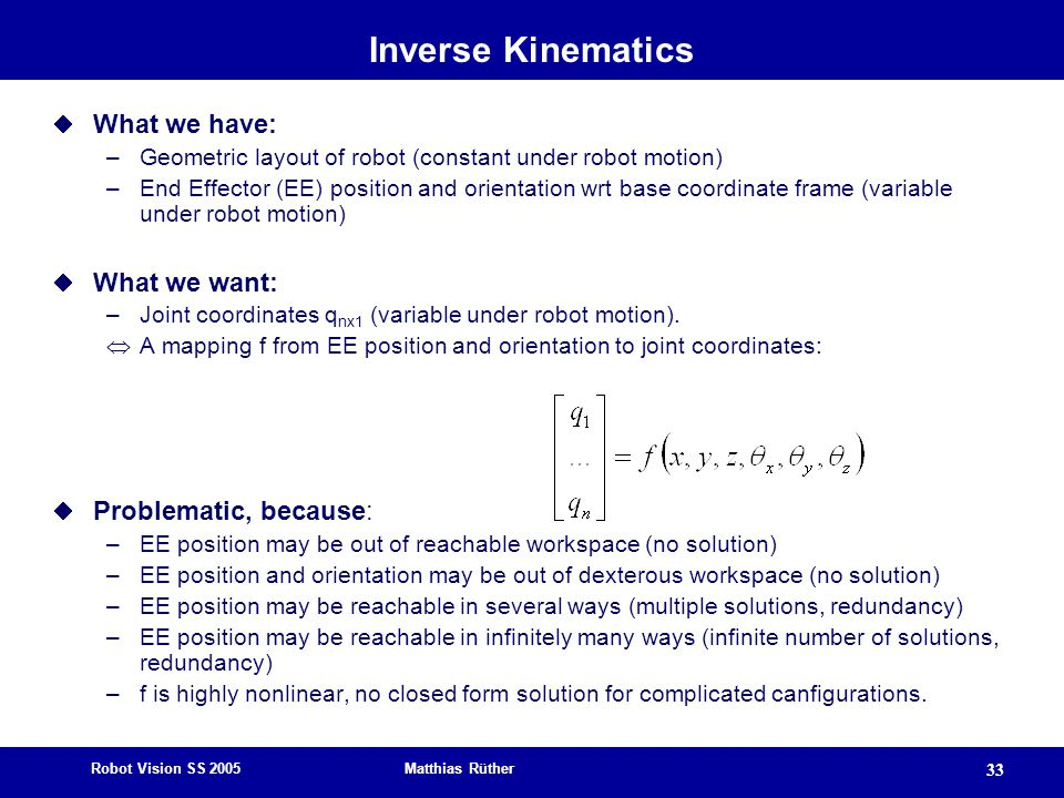 Inverse Kinematics What we have: What we want: Problematic, because:
