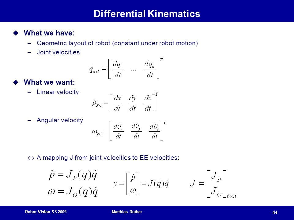 Differential Kinematics