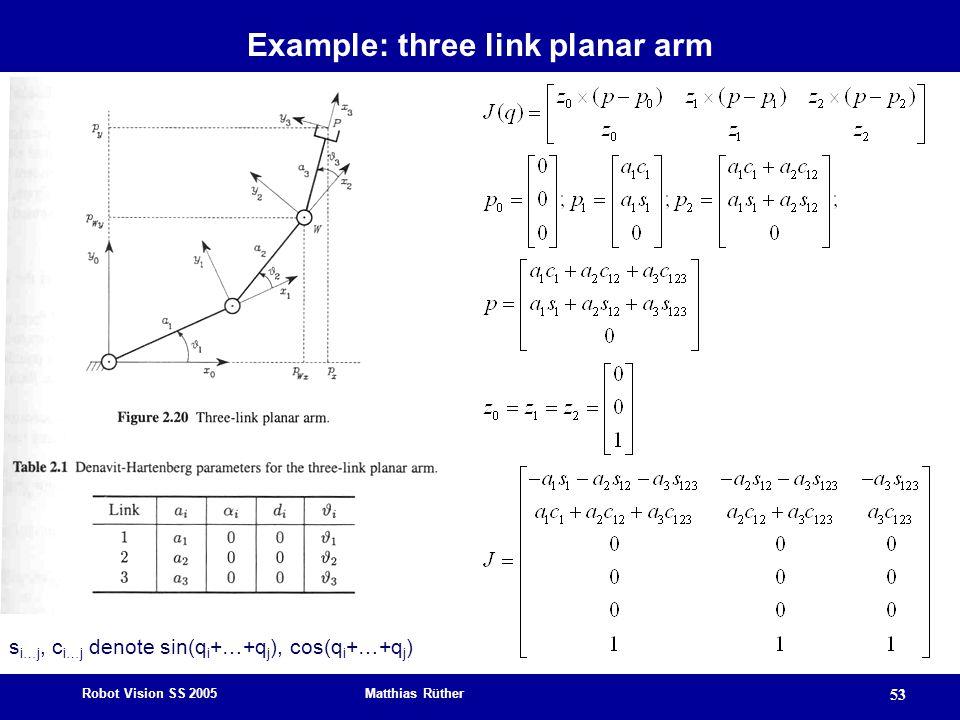 Example: three link planar arm