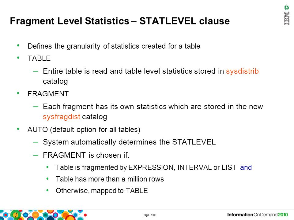 Fragment Level Statistics – STATCHANGE property