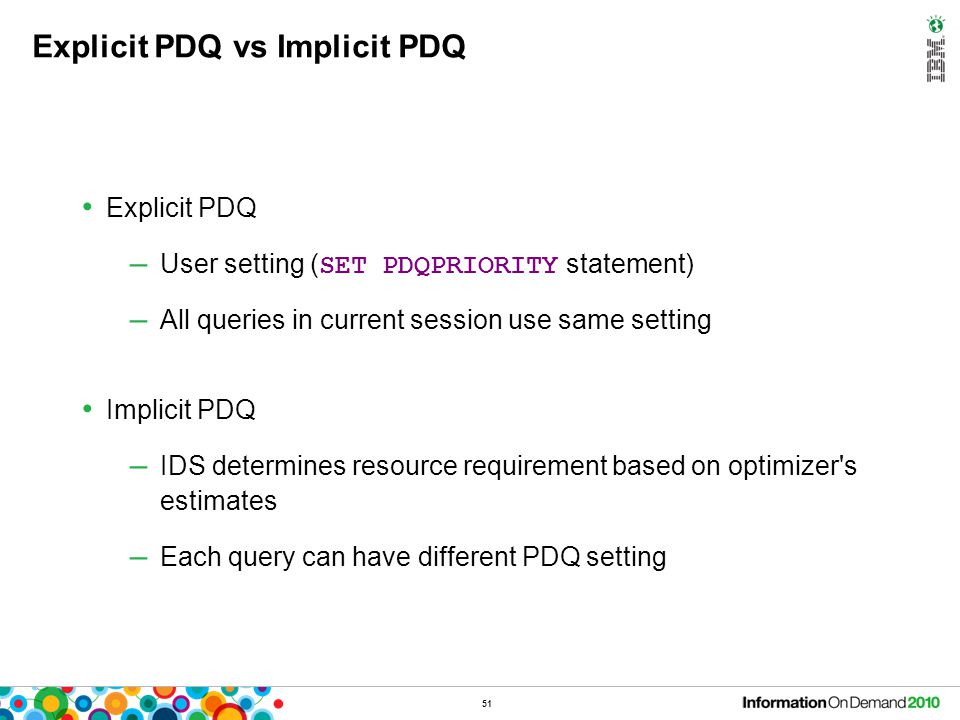 Implicit PDQ - Enable SET ENVIRONMENT IMPLICIT_PDQ ON/OFF