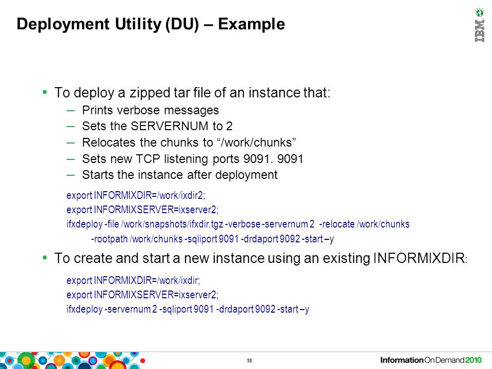 Unique Event Alarms Informix uses the event alarm mechanism to notify the DBA about any major problems in the database server.