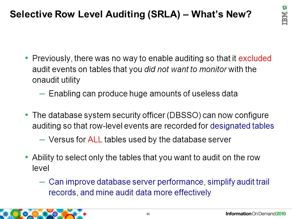 SRLA – Syntax New table level property added (AUDIT)
