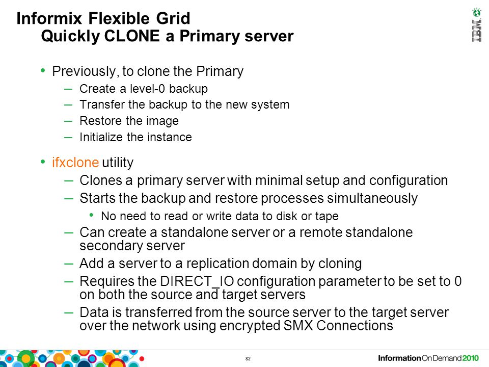 Informix Flexible Grid DDL on Secondary servers