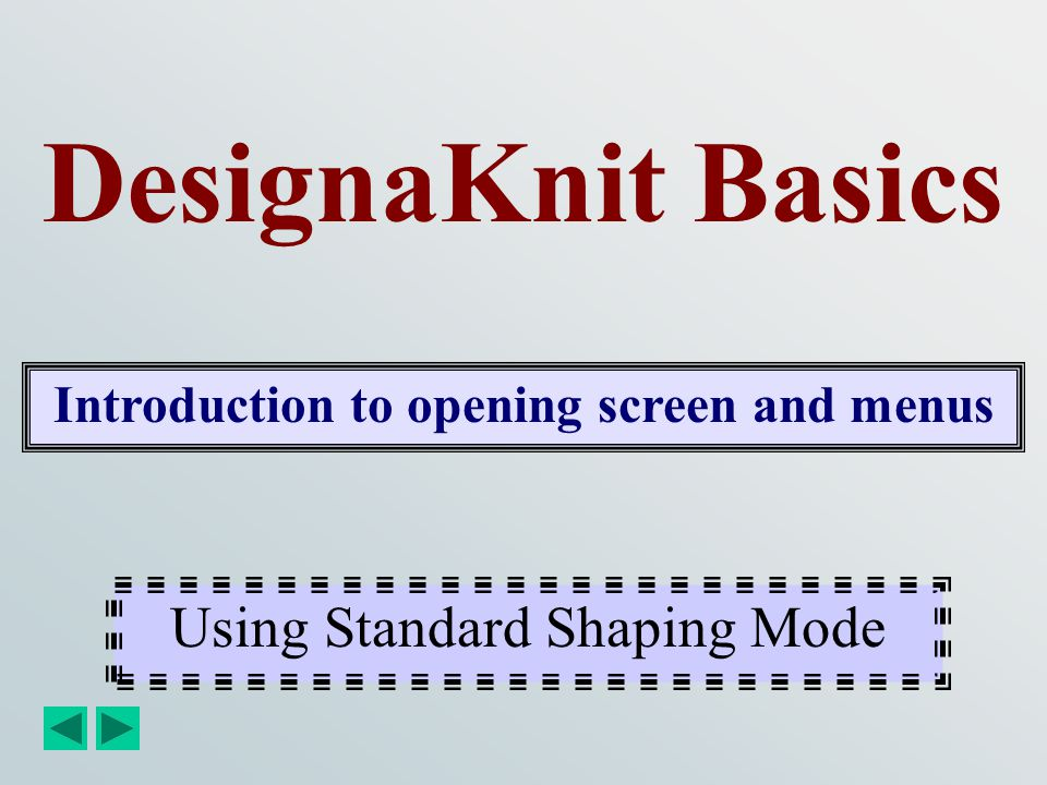 Introduction to opening screen and menus