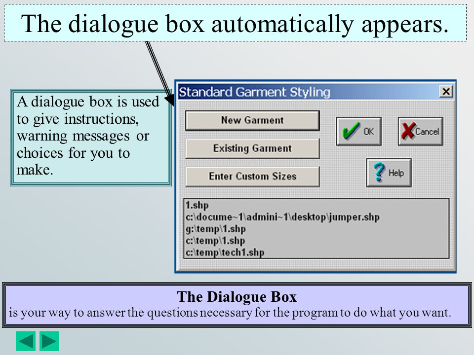 The dialogue box automatically appears.
