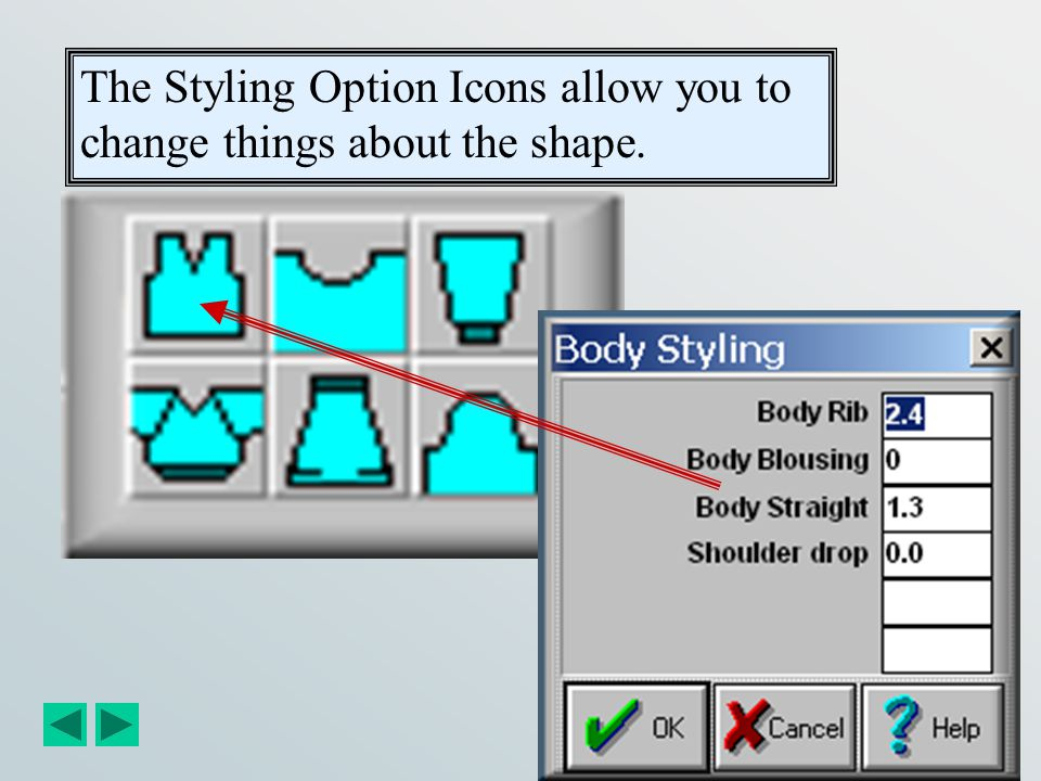 The Styling Option Icons allow you to change things about the shape.