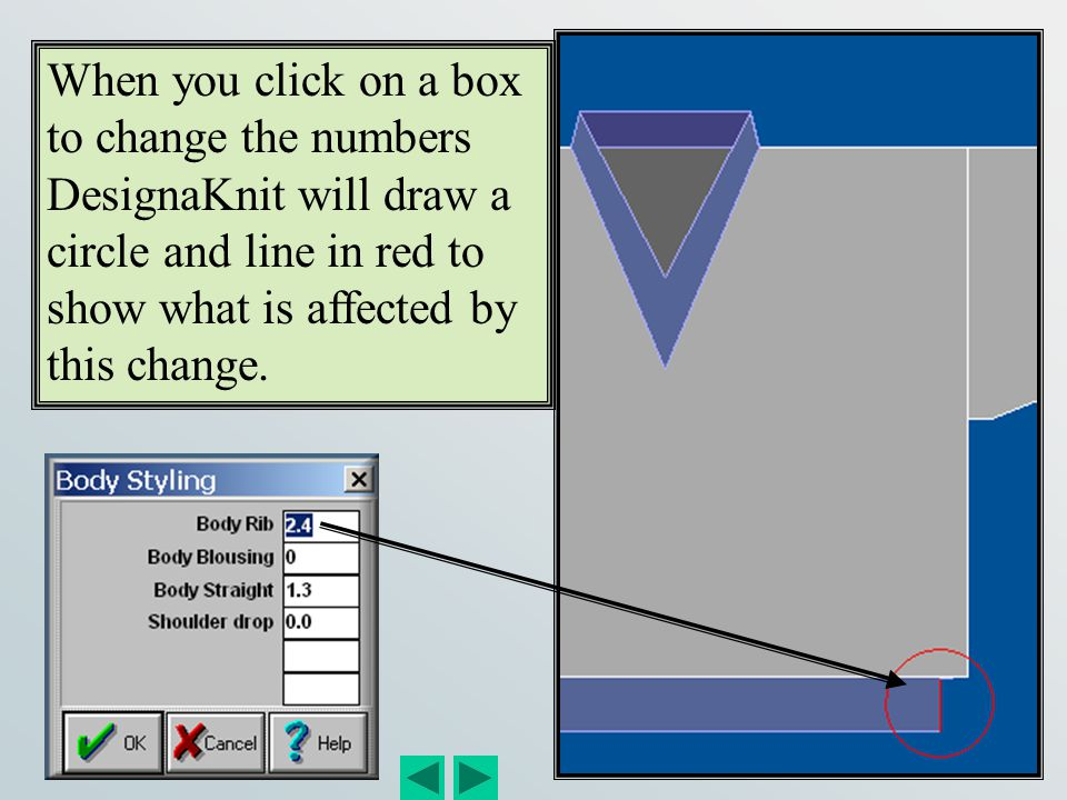 When you click on a box to change the numbers DesignaKnit will draw a circle and line in red to show what is affected by this change.