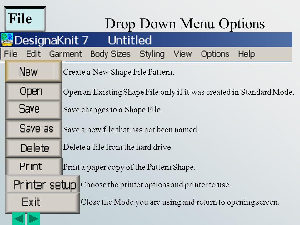 File Drop Down Menu Options Create a New Shape File Pattern.