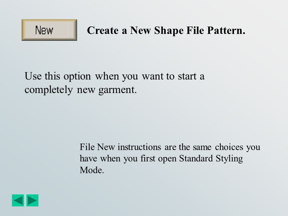 Create a New Shape File Pattern.