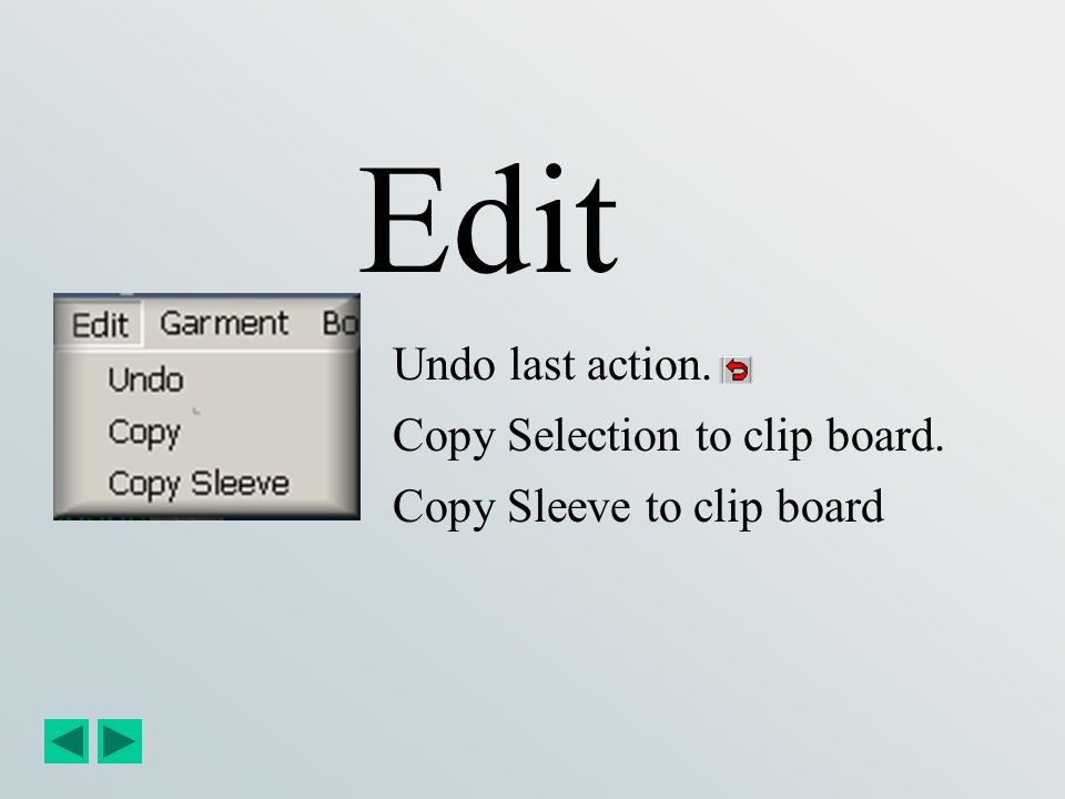 Edit Undo last action. Copy Selection to clip board.