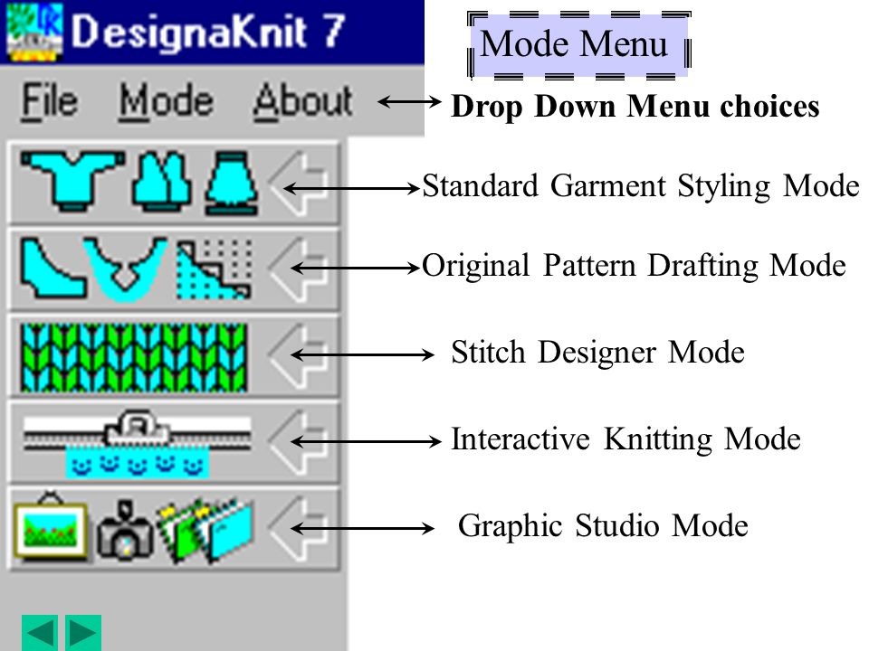 Mode Menu Drop Down Menu choices Standard Garment Styling Mode