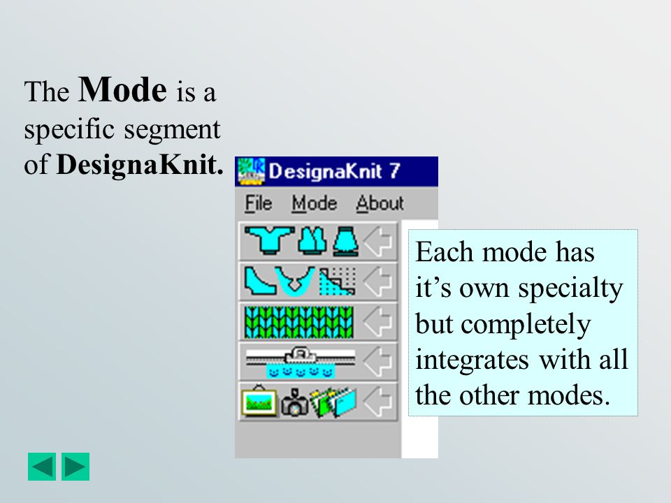 The Mode is a specific segment of DesignaKnit.