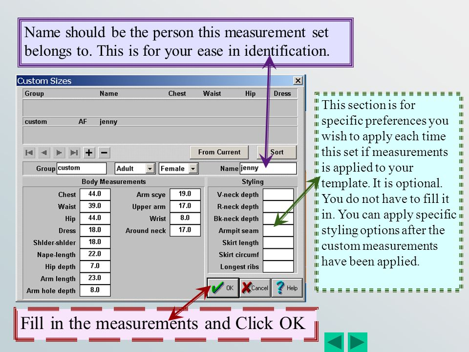 Fill in the measurements and Click OK