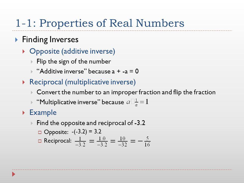 1-1: Properties of Real Numbers