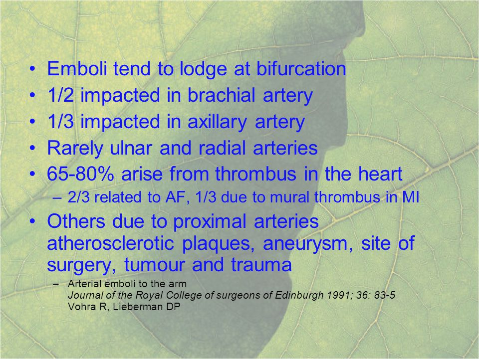 Acute occlusive disease of upper limb ppt download for Define mural thrombus