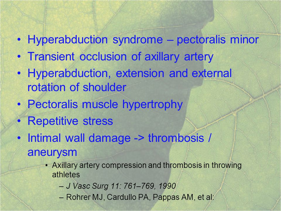 Hyperabduction syndrome – pectoralis minor