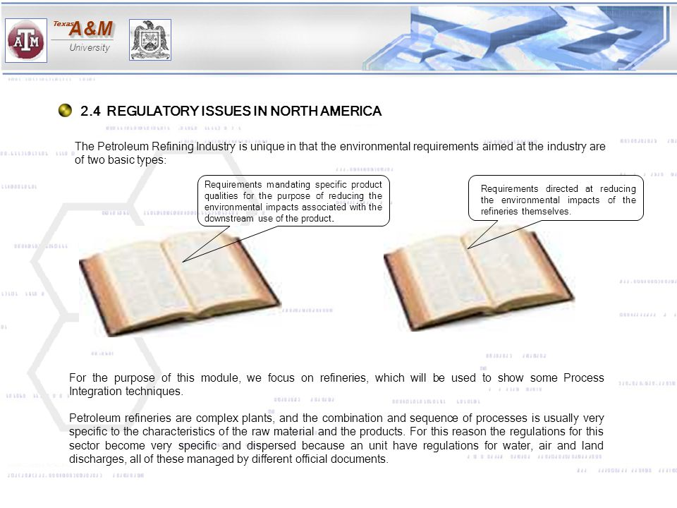2.4 REGULATORY ISSUES IN NORTH AMERICA