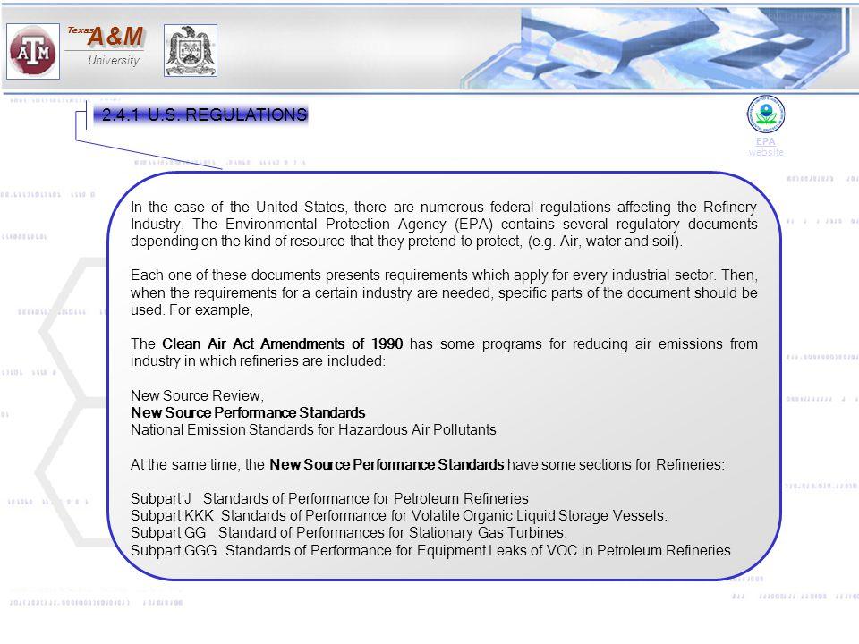 2.4.1 U.S. REGULATIONS EPA. website.