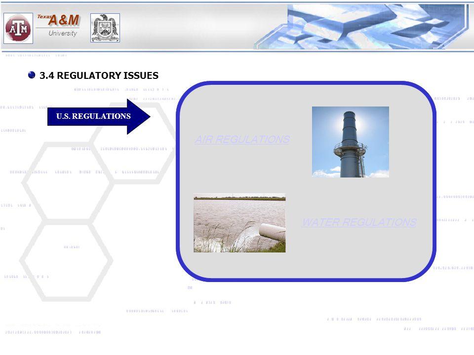 AIR REGULATIONS WATER REGULATIONS 3.4 REGULATORY ISSUES