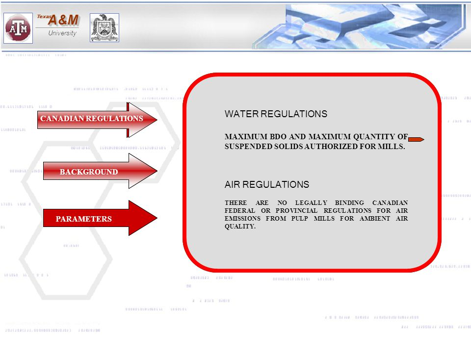 WATER REGULATIONS AIR REGULATIONS
