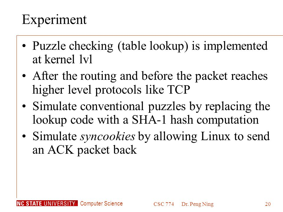 Experiment Puzzle checking (table lookup) is implemented at kernel lvl