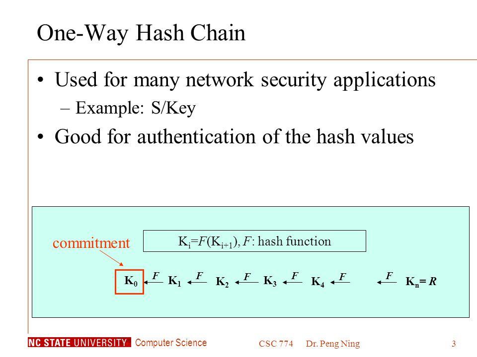 Ki=F(Ki+1), F: hash function